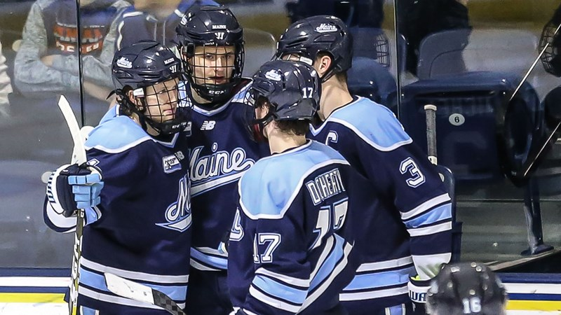 Men's Hockey Grabs Two Points at Merrimack with 4-2 Win - University of Maine Athletics